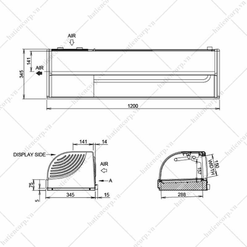 Quầy giữ lạnh sushi HNC-180BE-L/R-S