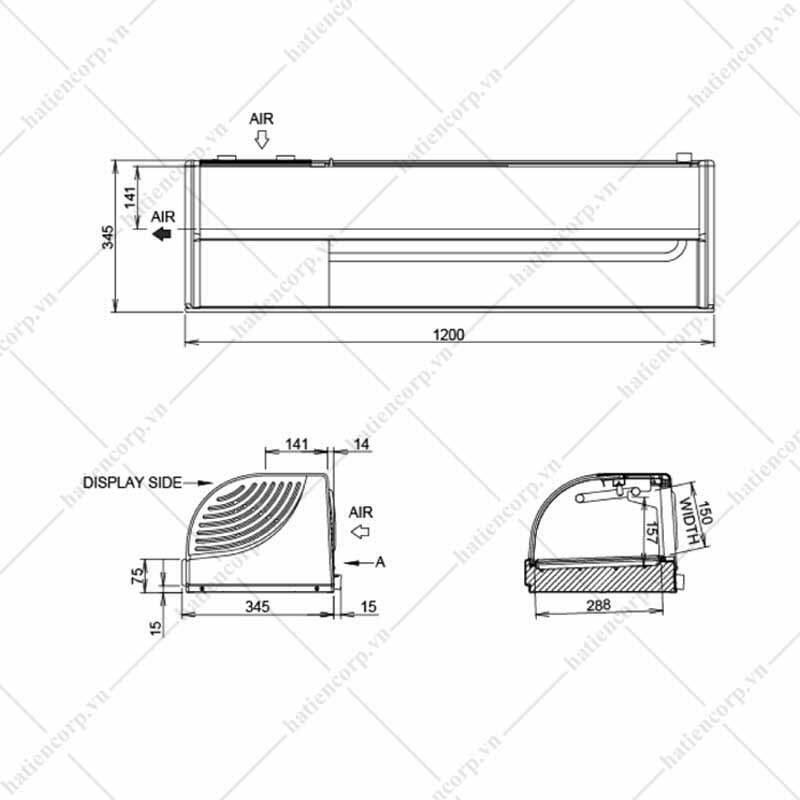 Quầy giữ lạnh sushi HNC-150BE-L/R-S