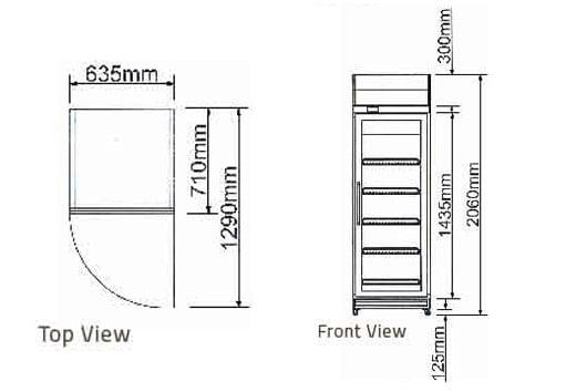 Bản vẽ kỹ thuật tủ mát 1 cánh kính Berjaya