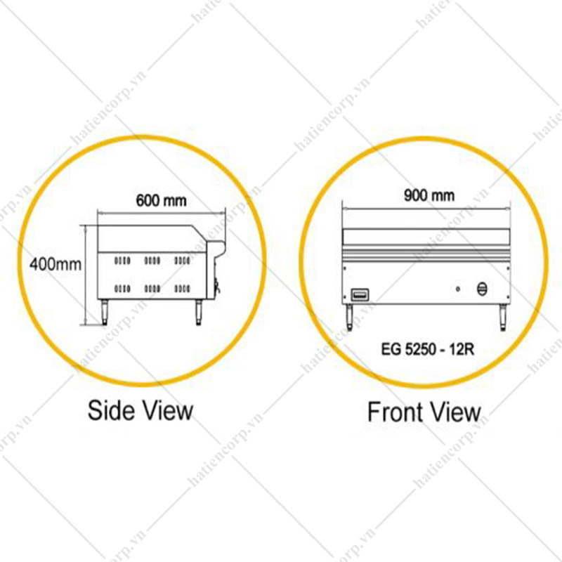 Bếp chiên phẳng bằng điện EG5250 - 12R ( Phân nửa rãnh sọc)