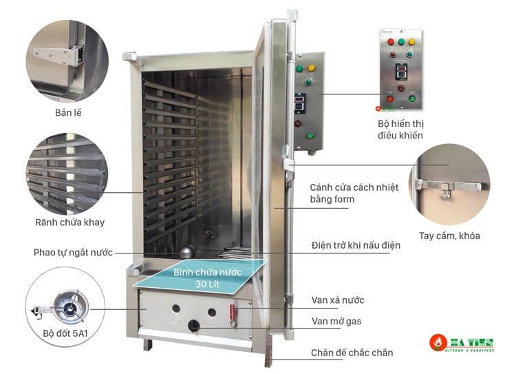 cấu tạo tủ nấu cơm Hà Tiên