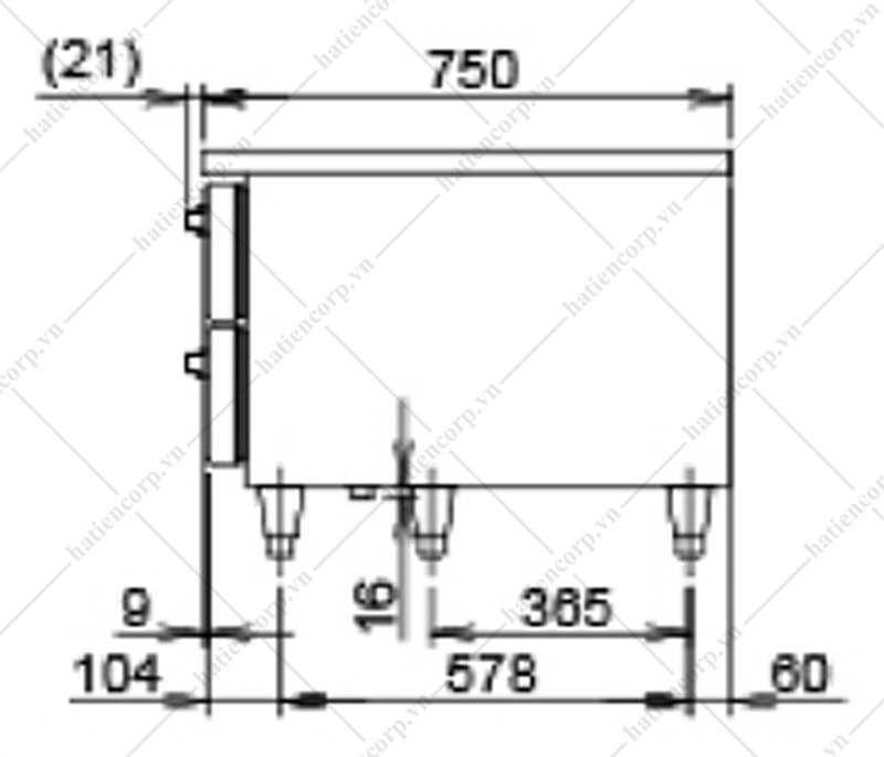 Bản vẽ bàn mát công nghiệp 750mm