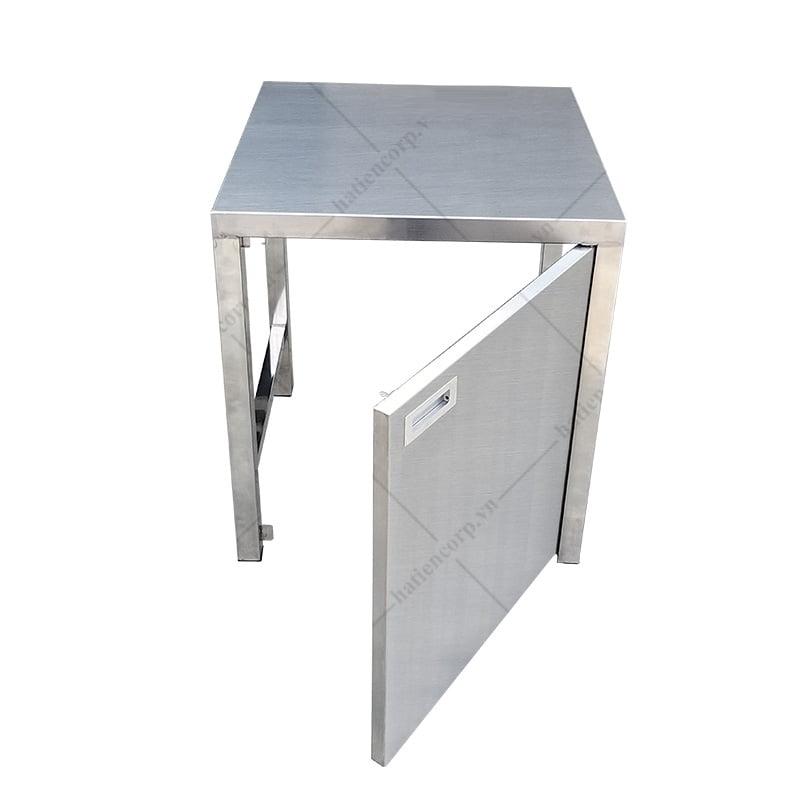 Bàn inox 1500x750x850/950mm có thành có cửa lùa - Bàn inox 304 cao cấp, chất lượng cao
