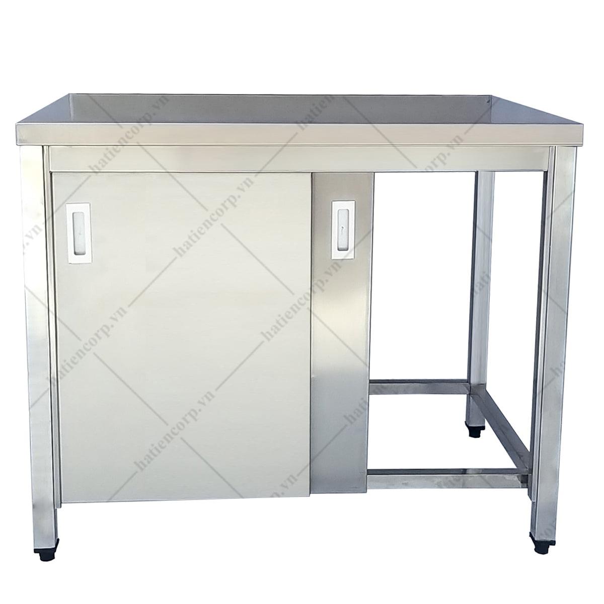 Bàn inox 1200x600x850mm có cửa lùa - Bàn inox 304 cao cấp, chất lượng cao