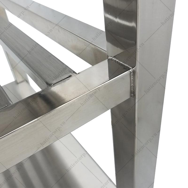 Bàn inox 2 tầng 700x750x850/950mm kệ thanh có thành - Bàn inox 304 cao cấp, chất lượng cao