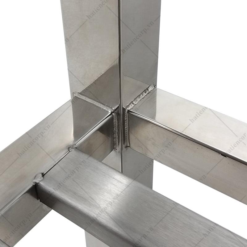 Kệ inox 2 tầng 1800x400mm - Kệ đặt trên bàn - Kệ thanh inox, có lan can