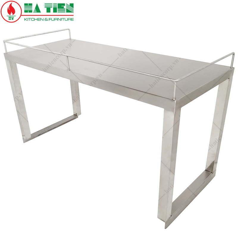 Kệ inox - Kệ phẳng 1 tầng đặt trên bàn có lan can
