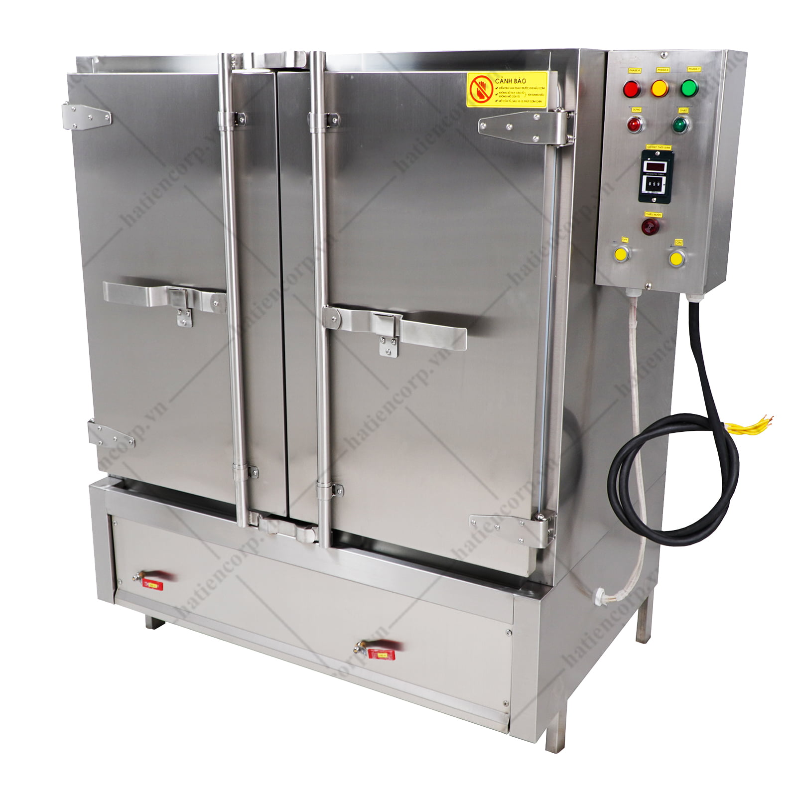 Tủ nấu cơm công nghiệp 100kg dùng gas và điện