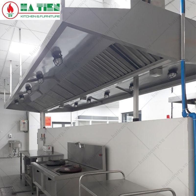 Hệ thống đèn trong chụp hút khói bếp căn tin trường mầm non Vfis