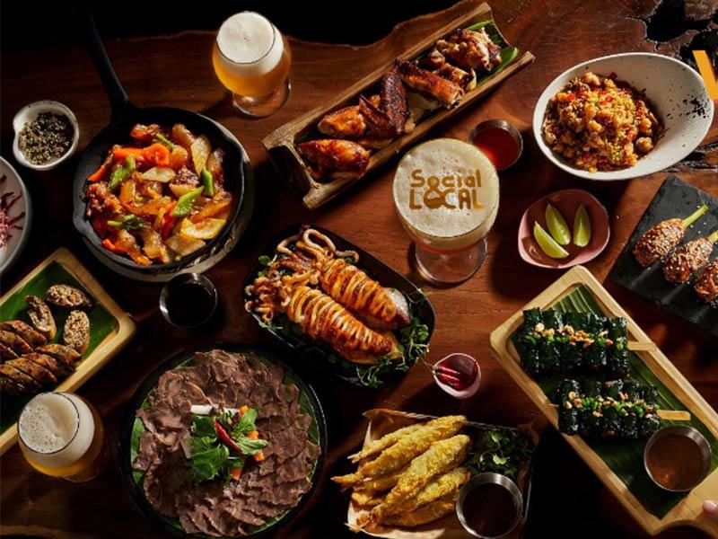 thức ăn tại nhà hàng bia tươi