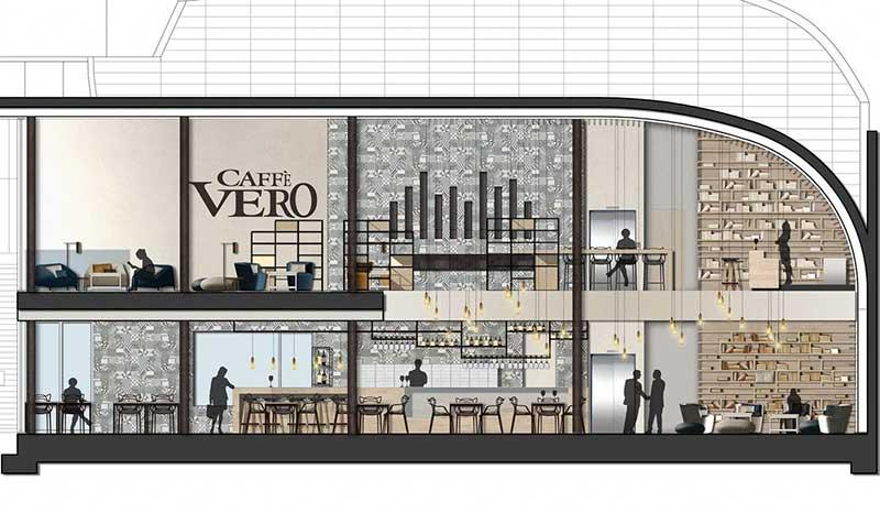 Quán cafe với 2 tầng