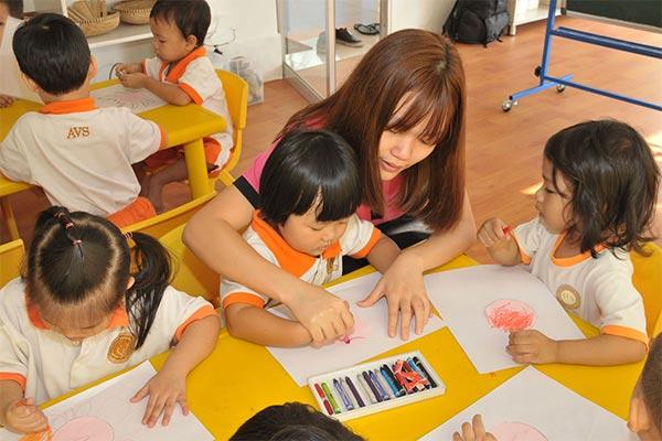 giờ học của các bé ở trường Việt Mỹ Úc